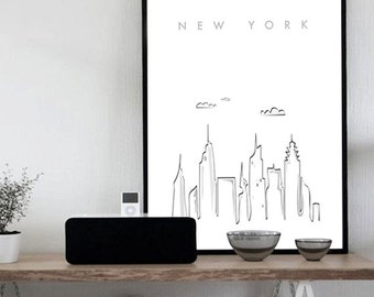 New York City Printable Wall Art Illustration Graphic Design, Poster Travel Big Apple Home Decor Digital Print, black white INSTANT DOWNLOAD