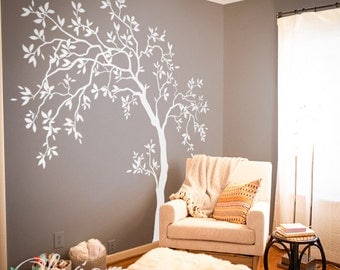 White  Large Tree wall decal Tree Wall Decal Wall Mural Stickers Wall Decals Decor Nursery Tree  Wall Art Tattoo Nature - NT022
