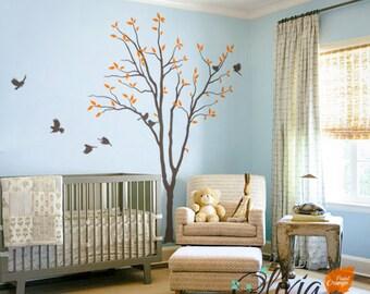 Baby Nursery Tree wall decal huge tree wall decals wall decor wall mural tree shape kids room wall decoration cute birds sticker - NT026