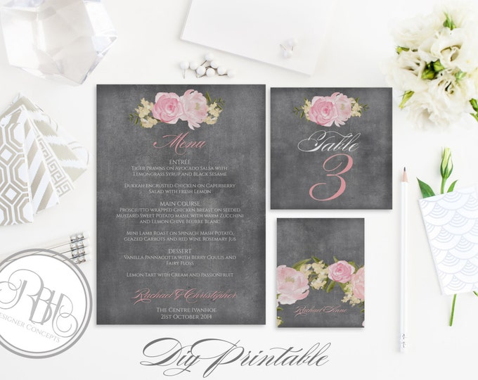 "Rustic Chalkboard Menu, Table Number, PlaceCard Template-INSTANT DOWNLOAD-DIY Editable Text-Chalkboard Watercolour Pink Peonies-""Juliet"""