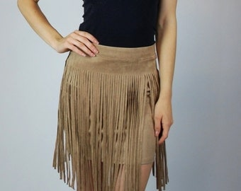 Beautiful Western Cowboy Indian Fringed Skirt Faux Suede Tan Junior Free Shipping
