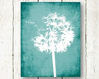 Dandelion Print Teal Wall Art Distressed Wall Decor Make A Wish Printable  Dandelion Digital Print Sign