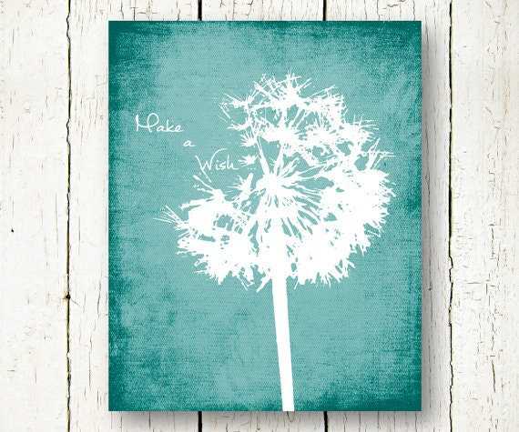 Dandelion Print Teal Wall Art Distressed Wall Decor Make A