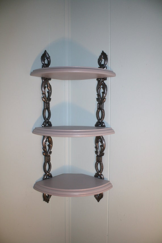 3 Tier Corner Shelves With Metal Bracket