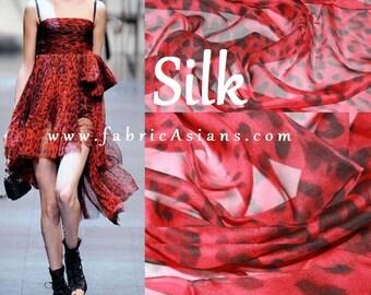 Red Leopard Chiffon Silk by the yard
