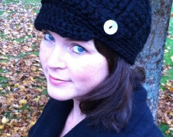 Ladies Ribbed Newsboy Hat