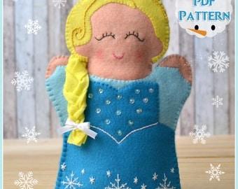 PDF Pattern, Felt Snow Princess Hand Puppet, Instant Download, Felt Hand Puppet.
