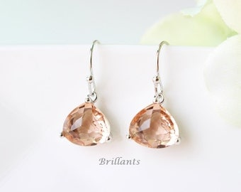Champagne glass earrings in silver, Peach earrings, Bridesmaid jewelry, Everyday earrings, Wedding earrings