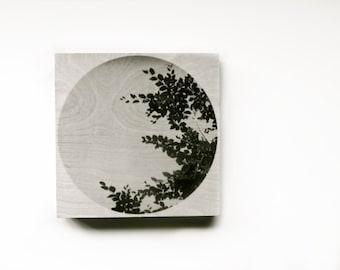 "Wood wall art hand-made print on 8x8"" Wood Panel art prints on wood original lomography Wood wall art black and white nature photography"