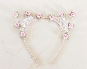 BonjourLace - Floral and Lace Kitty Cat Headband
