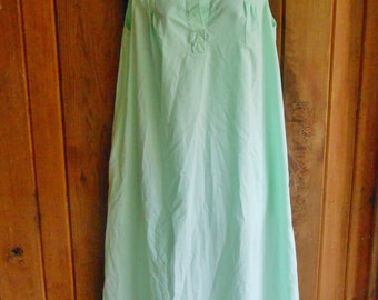1970s 70s pale mint green nightgown house coat // vintage one piece pullover dressing gown lounge wear mid length L/XL