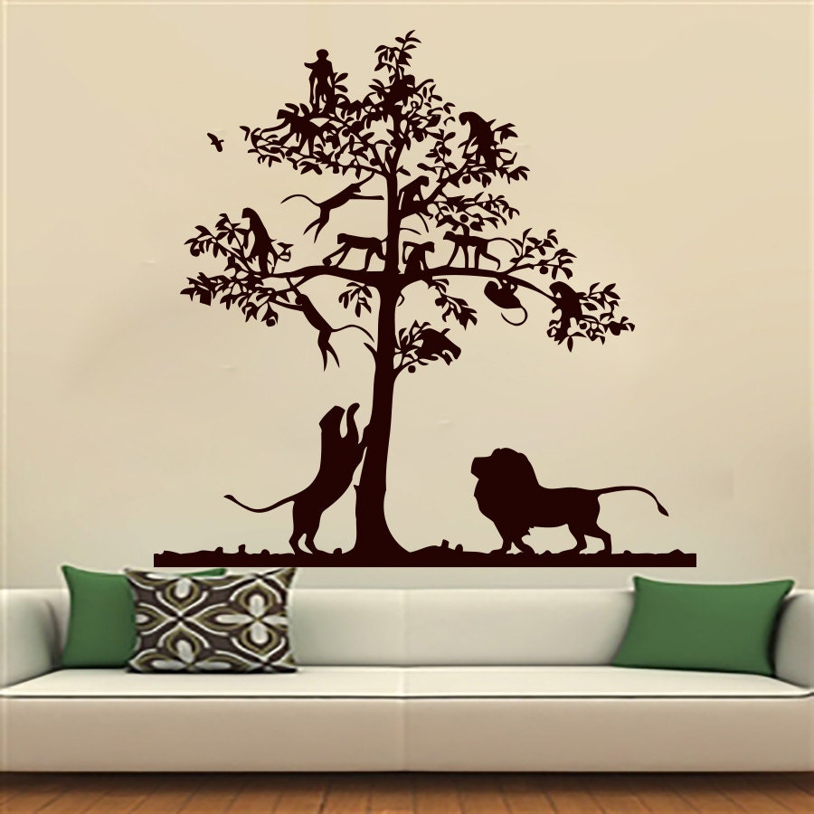 Wall Decals Lion Decal Tree Monkey Safari Landscape by ...