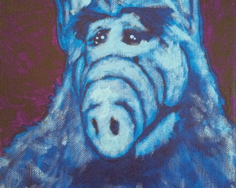 Blue Alf - cool 80s alien wall art