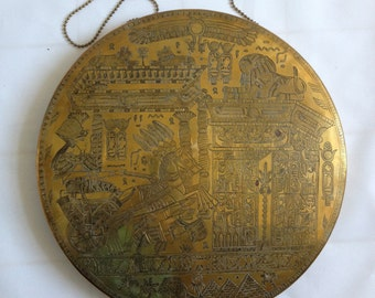 Brass Wall Hanging with Egyptian Design Including Chain