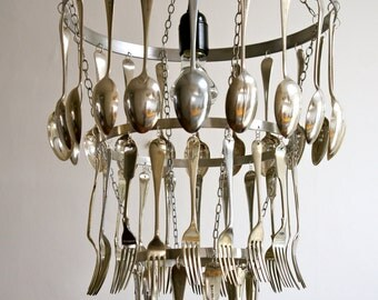 Hand-crafted Silver Plated Cutlery Chandelier