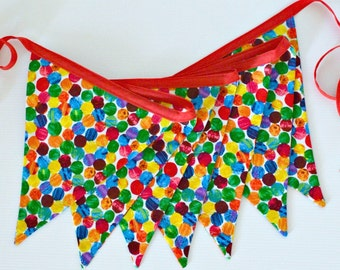 Very Hungry Caterpillar Fabric Bunting | Garland | 1st Birthday Party | Cake Smash | Double sided flags | Red & Green Spots | Made to Order