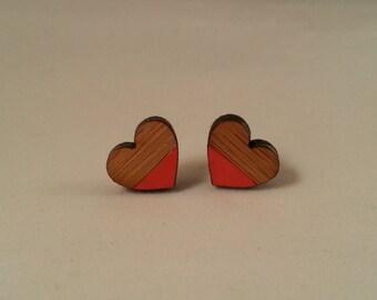 Handpainted Wooden Love Heart Earrings
