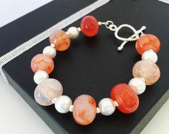 Red Agate Bracelet White Pearl Bracelet Gemstone Bracelet Beaded Bracelet Natural Beaded Stone Gift for Her Red and White Bracelet Xmas Gift