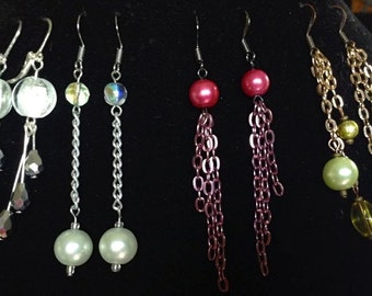 Dangling Earrings Set of Four: Green, Pink, White, Black and White
