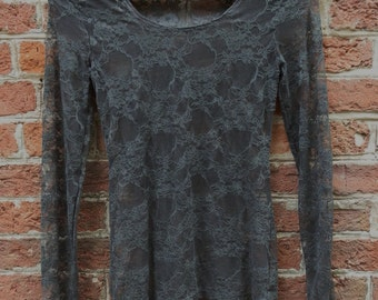 Vintage Brown Lacey See-Through Long-Sleeved Top, UK Size Small