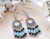 Handmade Spiral Chandelier Earrings With Amazonite, Black Agate, Fine Silver Plated Pewter and Sterling Silver