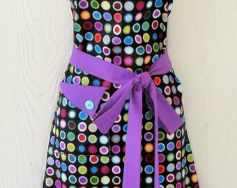 Polka Dot Apron, Colorful Medallions, Orchid and Black Apron, Vintage Style Apron, Women's Apron, KitschNStyle