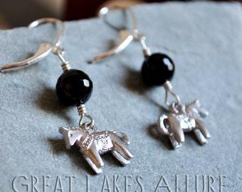 Dala Horse Earrings, Scandinavian Jewelry, Nordic Earrings, Silver Dala Horse, Dangle Earrings, Silver and Black Earrings, Swedish Charms