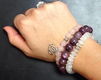 Rose Quartz and Lotus Flower Bracelet / rose Quartz Mala Bracelet/ Yoga Bracelet  /  Angelova Jewelry Bracelet