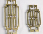 Pair of Chinese style antique symmetry pulls knobs/Drawer Handles/Antique Brass Kitchen Cabinet Pull Handles/Door handle/dresser drawer
