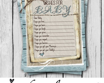 BLUE, Wishes for Baby, Card, Boy, Baby Shower Game Card, Rustic, Teal, Burlap, Wood, Twine, Rope, Country, Western - INSTANT DOWNLOAD
