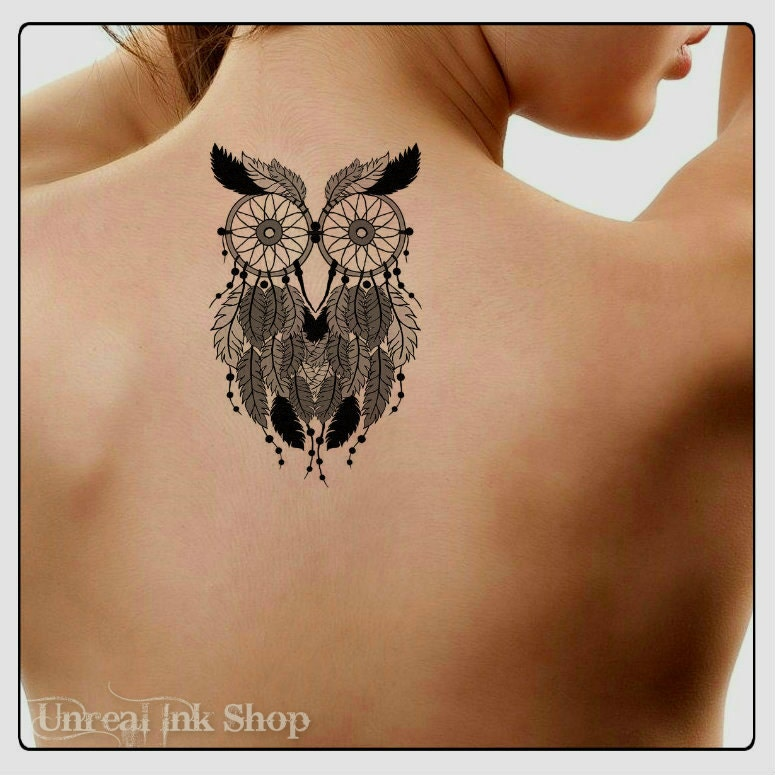 Temporary tattoo owl dreamcatcher waterproof ultra thin for Realistic temporary tattoos