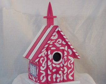Pink Hand Painted Chapel Style Decorative Birdhouse
