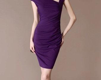 Solid Purple Dress Elegant Wedding Dress Party Dress Pleated Slide V neck Sheath Dress Made to Size Women Outfits Fashion Office Wear CE85