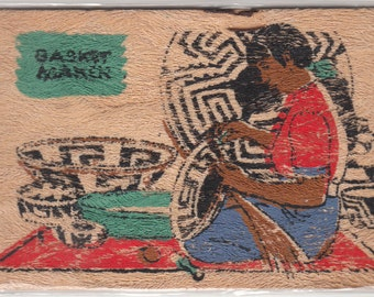 Native American Indian Making Papago Baskets Hand Painted Postcard On Yucca 1940s