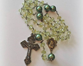 Olive Green Rosary, Pardon Crucifix Rosary, Immaculate Heart of Mary Rosary, Communion, Confirmation Rosary, Pearl Rosary, Bronze Rosary,