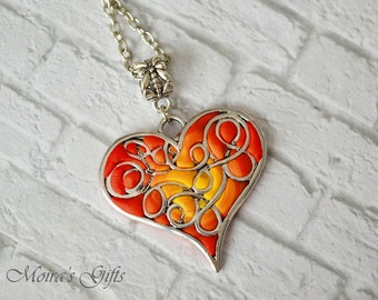 Heart on fire necklace - Valentines gifts - Love pendant - Polymer clay jewelry - Romantic jewelry - Red heart pendant