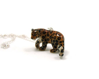 Leopard Necklace, Charm Necklace, Charm Jewelry, Leopard Pendant, Leopard Jewelry, Leopard Charm, Jewelry Gift, Ceramic Leopard