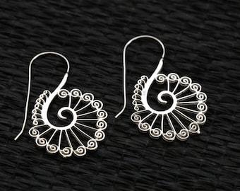 Tribal white brass earrings, Dancing Peacock Brass hoops, Spiral Earrings, Ethnic earrings; Gypsy earrings, Tribal Silver Earrings