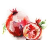 Still Life with Pomegranates Watercolor Painting Art Print, Red Pomegranate Watercolour Art