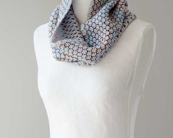 Knitted cowl, merino wool tube scarf, reversible cowl, snood,  in grey colour 'Beehive'