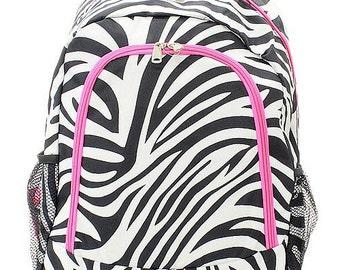 Zebra Print Monogrammed School Backpack with Hot Pink Trim