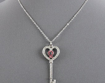 Key Rhinestone Necklace with Pink Ribbon Breast Cancer Awareness Necklace