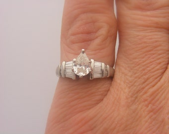 1.13 Carat T.W. Pear & Baguette Cut Certified Diamond Engagement Ring Platinum