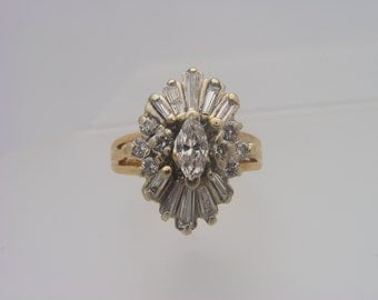 1.50 C.T.W. Marquise, Round & Baguette Cut Diamond Ring Yellow Gold 14K