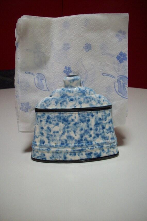Blue And White Ceramic Napkin Holder Vintage Lego Japan