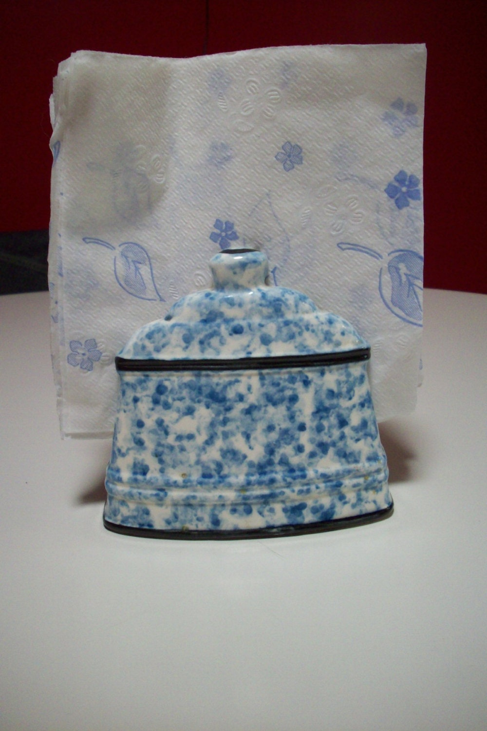 Blue And White Ceramic Napkin Holder Vintage Lego Japan