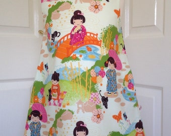 Versatile very pretty girls cotton pinafore dress, age 5 in Aoi has 2 sisters, Japanese print