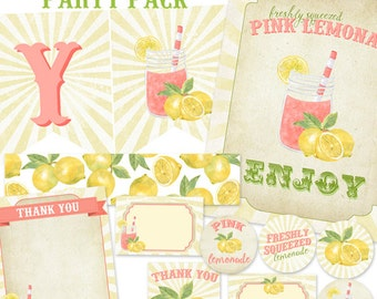 Pink Lemonade Printable Party Pack - Instant Download - NOT personalized