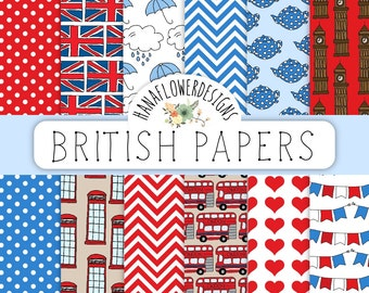 "British digital paper: ""British Paper"" with British patterns, Union Jack, London, big ben, tea, phone booth for scrapbooking, cards, invites"