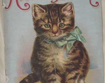 Kitten Book, 1913, Charles E. Graham, #0425, Linen Like, Vintage Children's Book